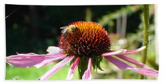 Cone Flower And Honey Bee Beach Towel
