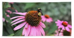 Beach Towel featuring the photograph Cone Flowers And Bee by Sheila Brown