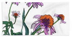 Cone Flowers Beach Towel