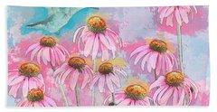 Coneflower Hummingbird Watercolor Beach Towel