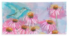 Beach Towel featuring the photograph Coneflower Hummingbird Watercolor by Patti Deters