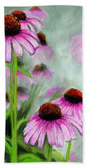 Coneflowers In The Mist Beach Towel