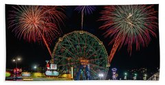 Coney Island At Night Fantasy Beach Sheet