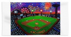 Coney Island Cyclones Fireworks Display Beach Towel