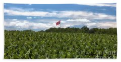 Confederate Flag In Tobacco Field Beach Sheet by Benanne Stiens