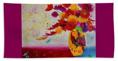 Beach Towel featuring the painting Confetti by Nancy Jolley