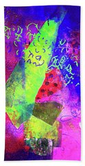 Beach Towel featuring the mixed media Confetti by Nancy Merkle