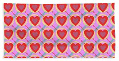Connected Hearts Pattern Beach Towel