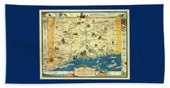 Connectiucut 1930s Map With Historical Information Beach Towel