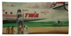 Connie Crew Deplaning At Columbus Beach Towel by Frank Hunter