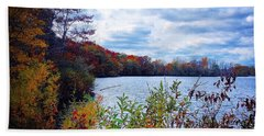 Conservation Park And Pine River In The Fall Beach Towel