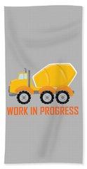 Construction Zone - Concrete Truck Work In Progress Gifts - Grey Background Beach Towel