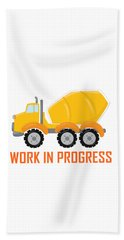 Construction Zone - Concrete Truck Work In Progress Gifts - White Background Beach Towel