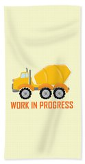 Construction Zone - Concrete Truck Work In Progress Gifts - Yellow Background Beach Towel