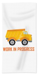 Construction Zone - Dump Truck Work In Progress Gifts - White Background Beach Towel