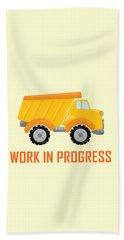 Construction Zone - Dump Truck Work In Progress Gifts - Yellow Background Beach Towel
