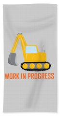 Construction Zone - Excavator Work In Progress Gifts - Grey Background Beach Towel