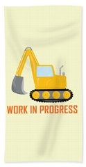 Construction Zone - Excavator Work In Progress Gifts - Yellow Background Beach Towel