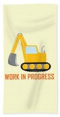 Construction Zone - Excavator Work In Progress Gifts - Yellow Background Beach Towel