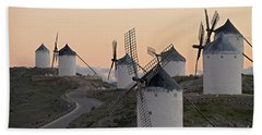 Beach Towel featuring the photograph Consuegra Windmills by Heiko Koehrer-Wagner
