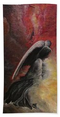 Beach Sheet featuring the painting Contemplative Angel by Mary Ellen Frazee