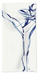 Contemporary Ballet Dancer, Blue Beach Towel