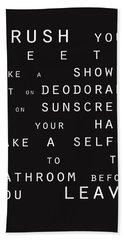 Contemporary Bathroom Rules - Subway Sign Beach Towel