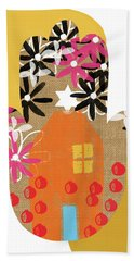 Beach Towel featuring the mixed media Contemporary Hamsa With House- Art By Linda Woods by Linda Woods