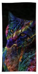Beach Towel featuring the photograph Content Yellow Tabby Cat Art 1 by Lesa Fine