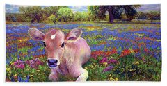 Contented Cow In Colorful Meadow Beach Sheet