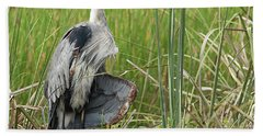 Contortionist Great Blue Heron Beach Towel