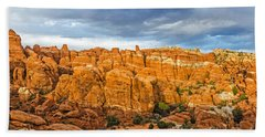 Beach Towel featuring the photograph Contrasts In Arches National Park by Sue Smith