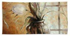Contre Jour. White Tulip In A Vase.oil Painting On Canvas Beach Towel