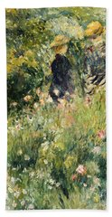 Conversation In A Rose Garden Beach Towel by Pierre Auguste Renoir