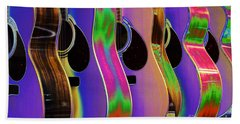 Cool Acoustic Guitars Beach Sheet by Annie Zeno