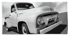Cool As Ice - 1954 Ford F-100 In Black And White Beach Towel