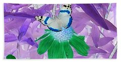 Cool Butterfly In Lavender Leaves Beach Towel