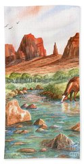 Beach Towel featuring the painting Cool, Cool Water by Marilyn Smith