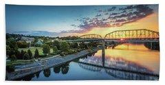 Coolidge Park Sunrise Panoramic Beach Sheet by Steven Llorca