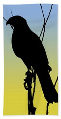 Coopers Hawk Silhouette At Sunrise Beach Towel