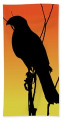 Coopers Hawk Silhouette At Sunset Beach Towel