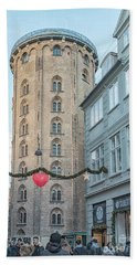 Beach Towel featuring the photograph Copenhagen Round Tower Street View by Antony McAulay