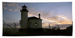 Coquille River Lighthouse At Sunset Beach Towel