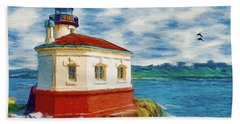 Beach Towel featuring the painting Coquille River Lighthouse by Jeff Kolker