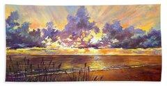 Coquina Beach Sunset Beach Towel by Lou Ann Bagnall