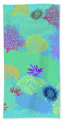 Beach Towel featuring the digital art Coral Garden Bright Aqua Multi by Karen Dyson