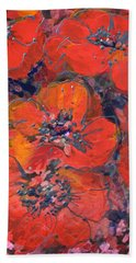 Coral Poppies Beach Towel