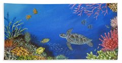 Beach Towel featuring the painting Coral Reef by Amelie Simmons