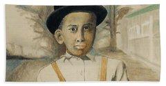 Corduroy Overalls,1942 -- Retro Portrait Of African-american Child Beach Sheet