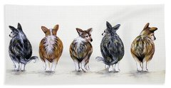 Corgi Butt Lineup With Chihuahua Beach Sheet by Patricia Lintner